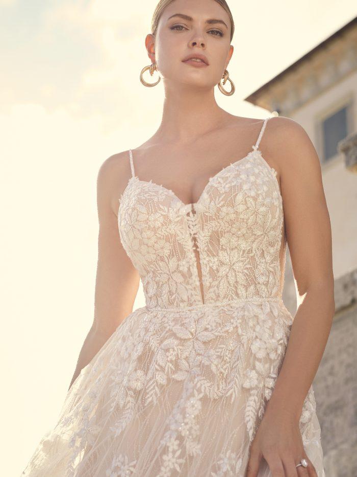 Bride Wearing Boho Lace A-line Wedding Dress Called Laramie by Sottero and Midgley
