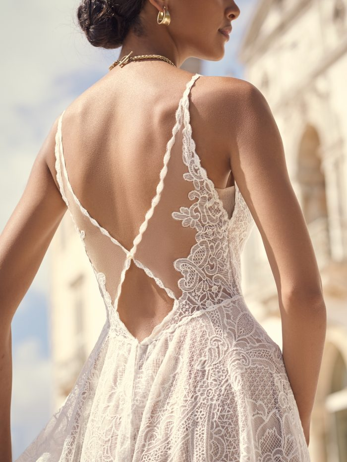 Bride Wearing Keyhole Back A-line Wedding Dress for Small-Chested Brides Called Petra by Sottero and Midgley