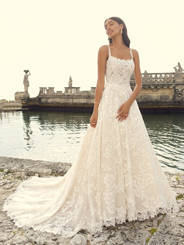 Bride Wearing Square Neck Floral Wedding Dress Called Sawyer by Sottero and Midgley