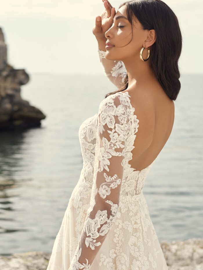 Bride Wearing Open Back Wedding Dress for Petite Brides Called Sawyer by Sottero and Midgley