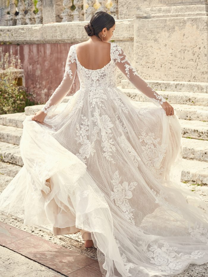 Bride Wearing Lace Long Sleeve Wedding Dress Called Valona by Sottero and Midgley