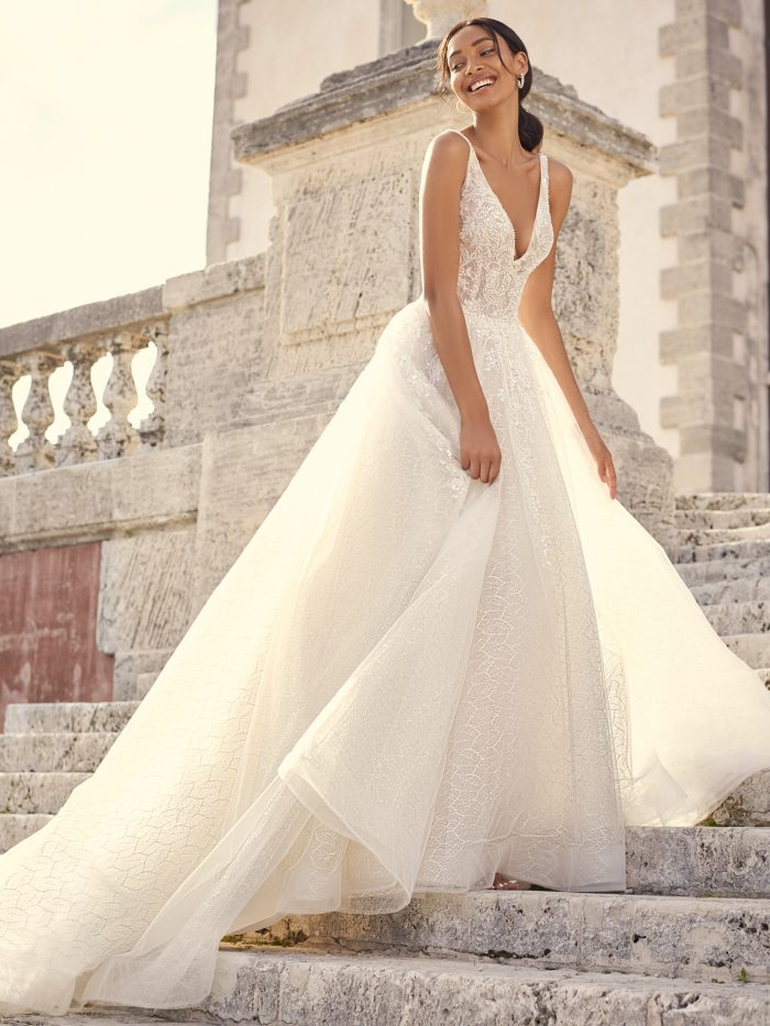 Bride Wearing Sparkly Ballgown Wedding Dress Called Verina by Sottero and Midgley