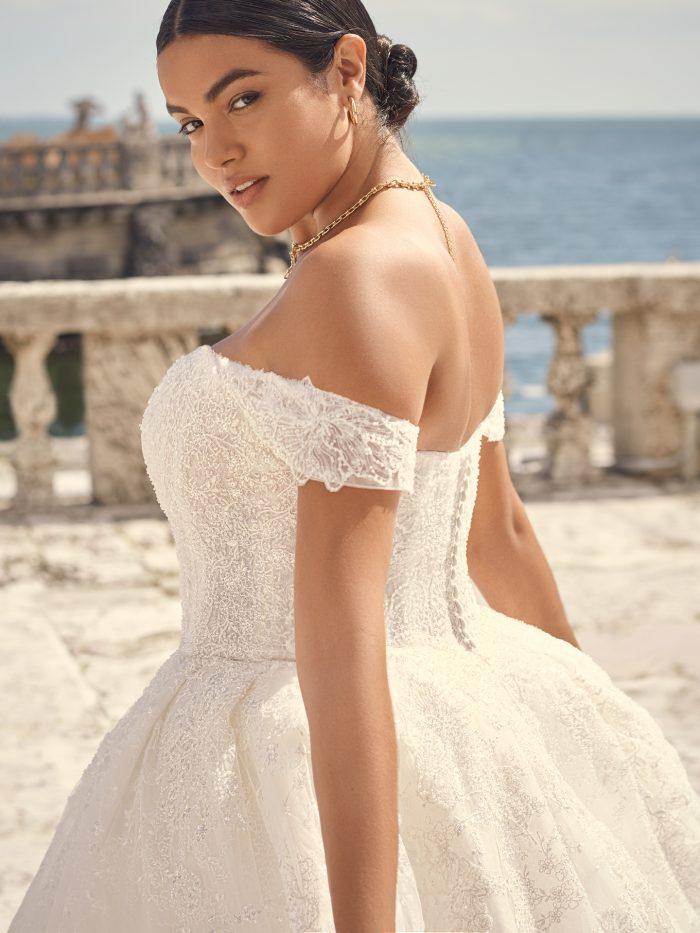 Bride Wearing Sparkly Ball Gown Wedding Dress Called Zartasha by Sottero and Midgley