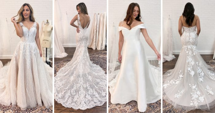 Collage of Brides During Their First Wedding Dress Fittings