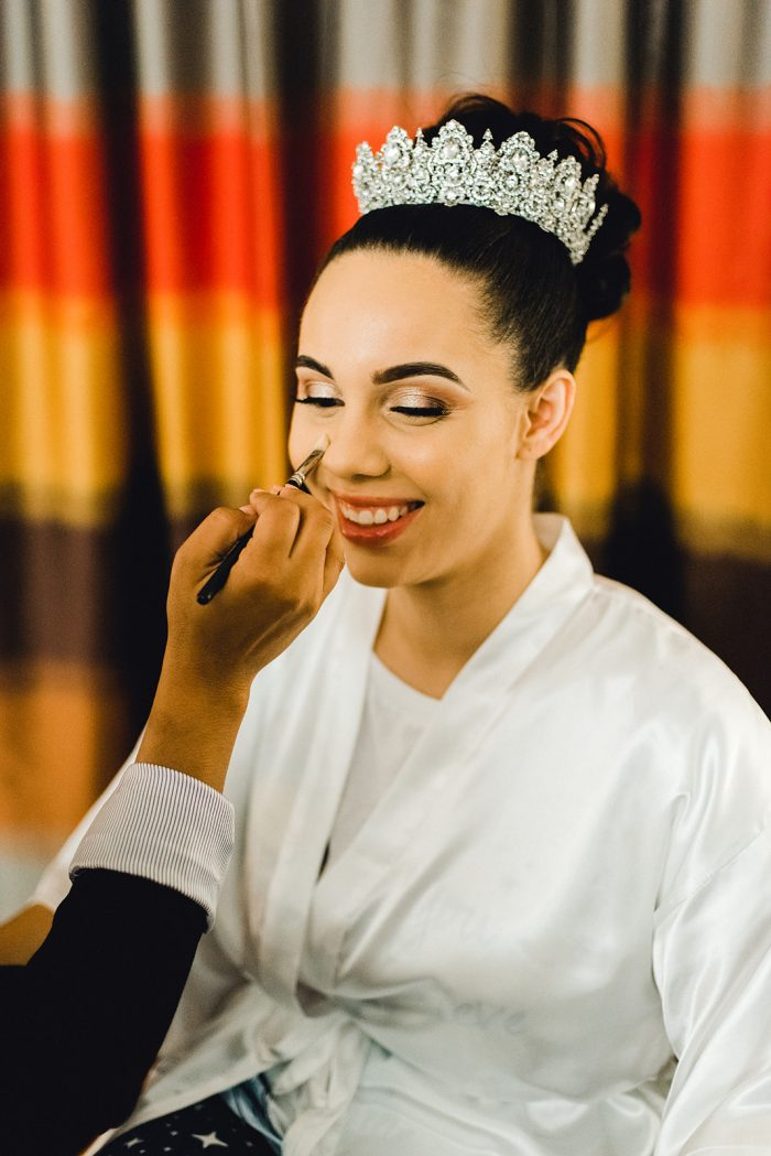 Bride Getting Makeup Done for Real Wedding