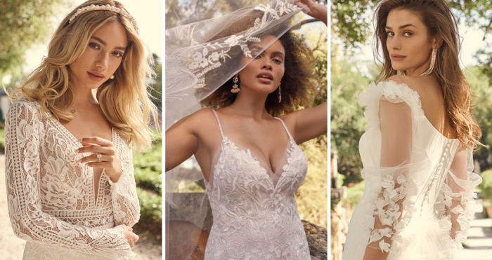 Collage of Brides Wearing Boho Wedding Accessories by Maggie Sottero