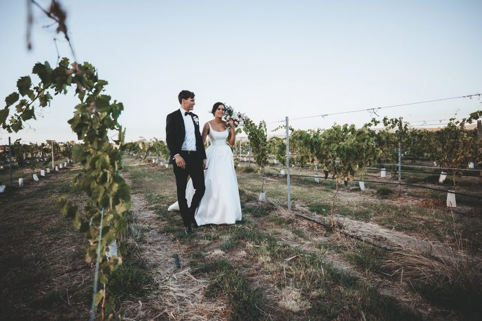Bride and Groom Walking in Vineyard in the Swan Valley Wine Region in Australia for Their Winery Wedding
