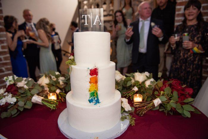 Rainbow Layer Cake Pride Wedding Idea At LGBTQ Wedding