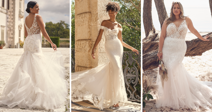 Collage of Brides Wearing Mermaid Wedding Dresses for Brides with Hourglass Figures
