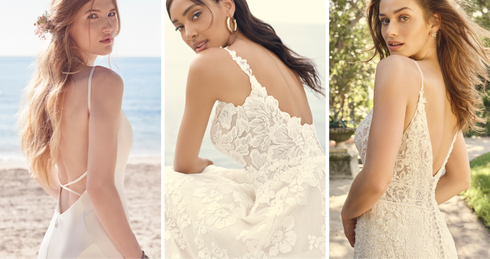 Collage of Brides Wearing Open Back Wedding Dresses for Brides with Petite Figures