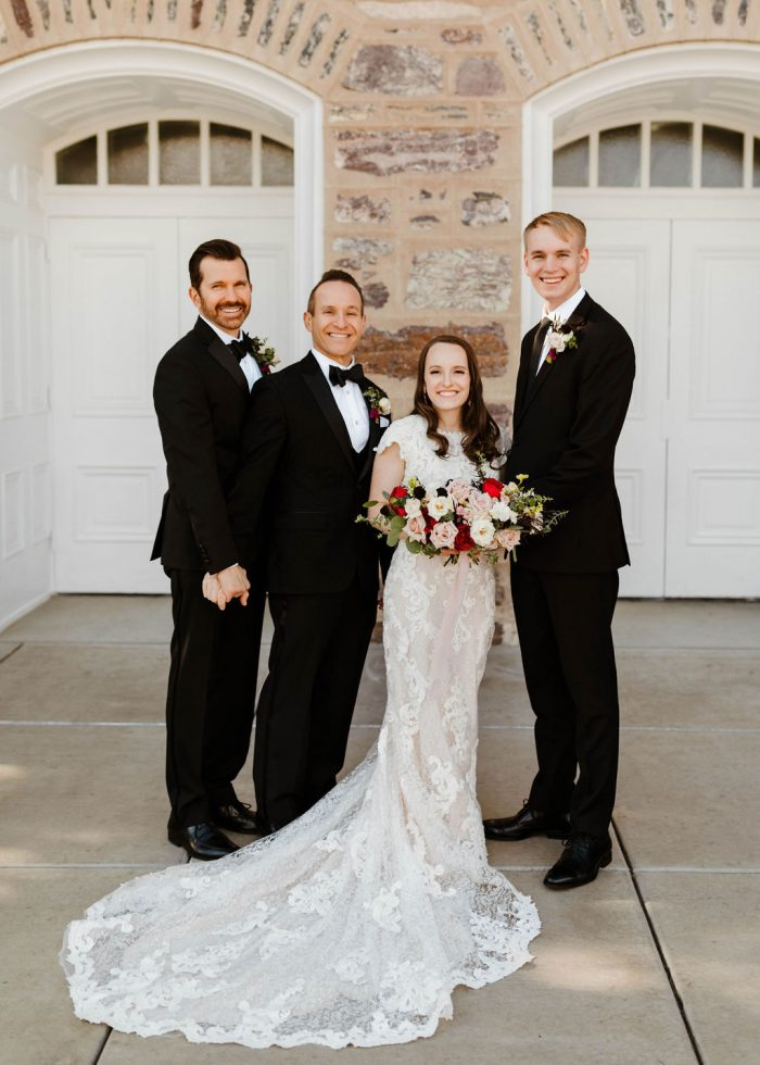 Fathers of Bride with Bride and Groom Wearing Black Formal Father of the Bride Attire