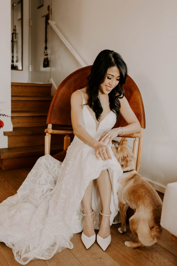 Bride Wearing Jimmy Choo Shoes with Maggie Sottero Wedding Dress Called Elsie