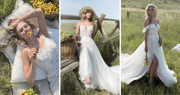 Brides in a Field Wearing Cottagecore Wedding Dresses by Maggie Sottero