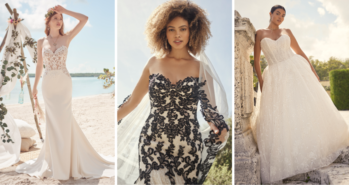 Three Brides Wearing Glamorous Strapless Wedding Dresses by Maggie Sottero