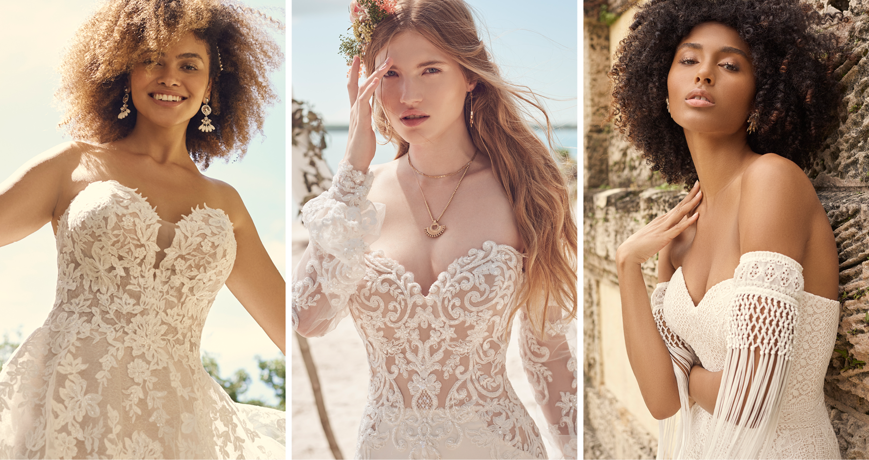 Three Brides Wearing Strapless Wedding Dress Accessories