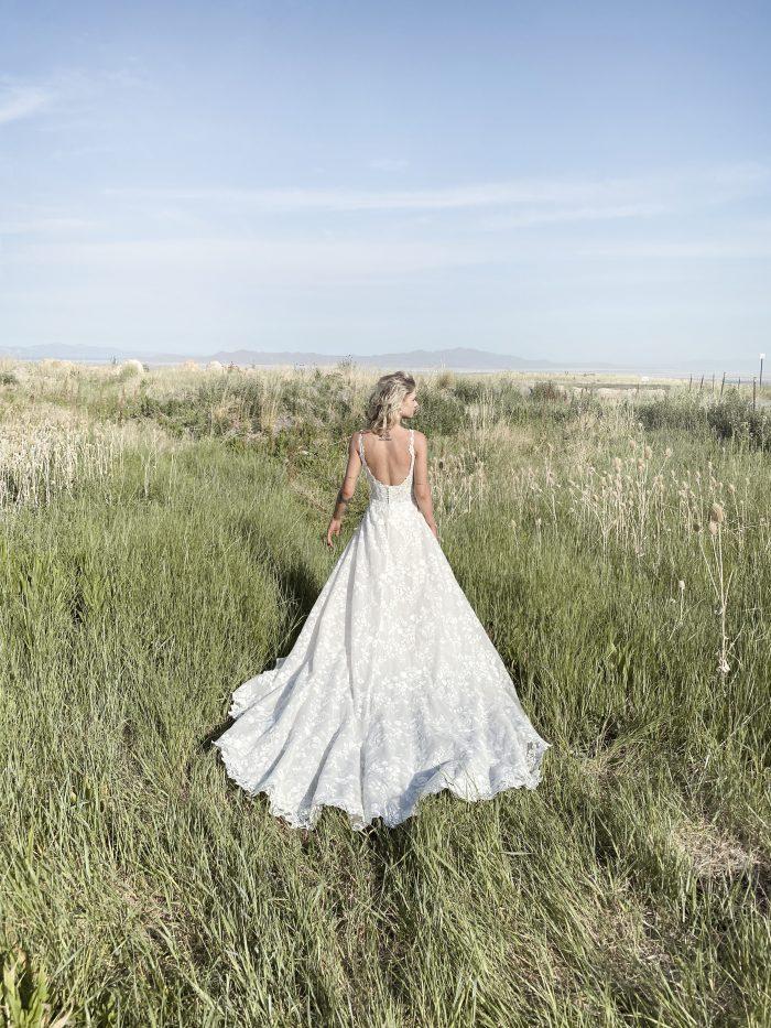 Bride Wearing Square Neck Cottagecore Wedding Dress Called Sawyer by Sottero and Midgley