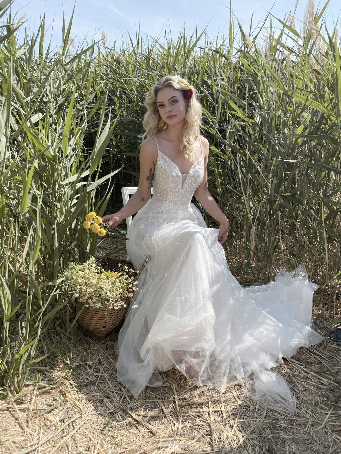 Bride with Basket of Wildflowers Wearing Cottagecore Bridal Gown Called Paige by Maggie Sottero