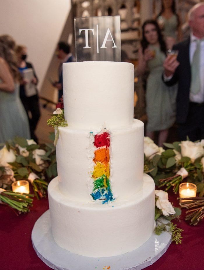 Pride Wedding Cake with Surprise Rainbow Layers Inside