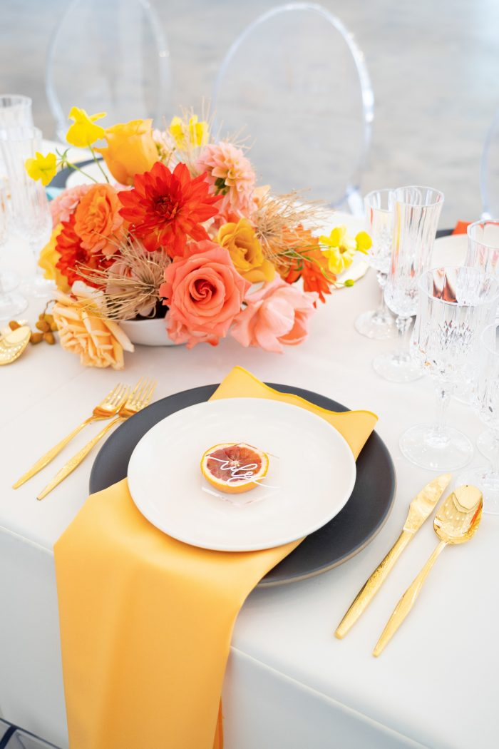 Yellow Citrus Table Setting in a Summer Wedding Color Palette