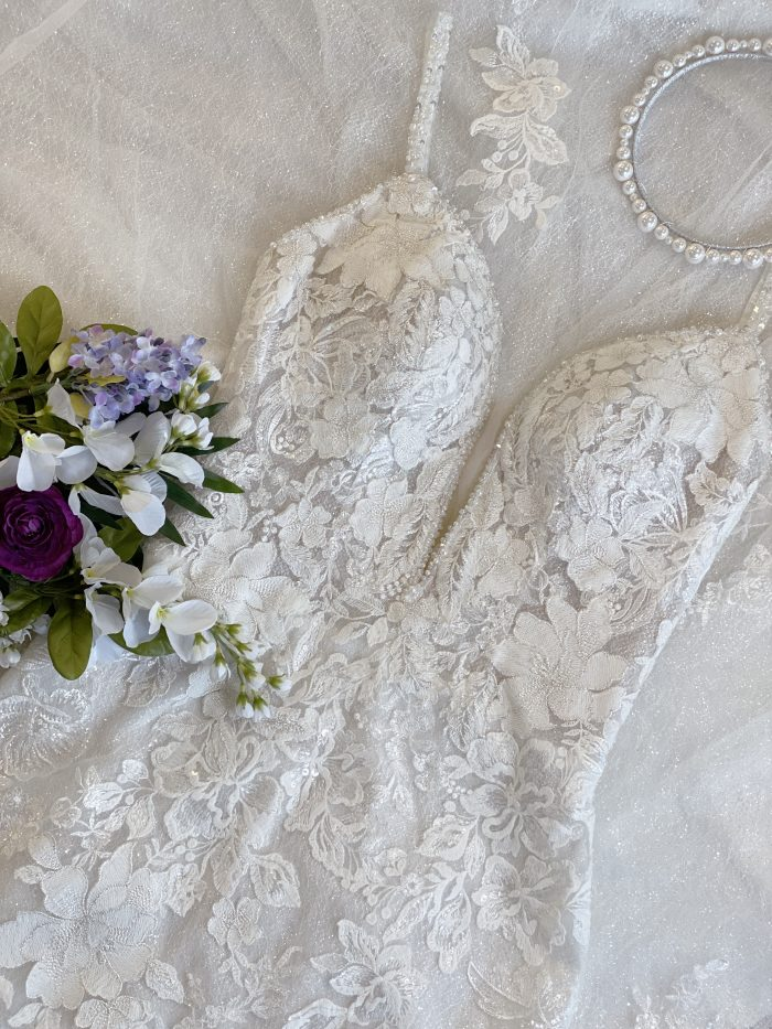 Flat Lay of Lace Sheath Bridal Gown Called Bryan by Sottero and Midgley