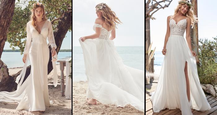 Brides Wearing Chiffon Beach Wedding Dresses by Maggie Sottero