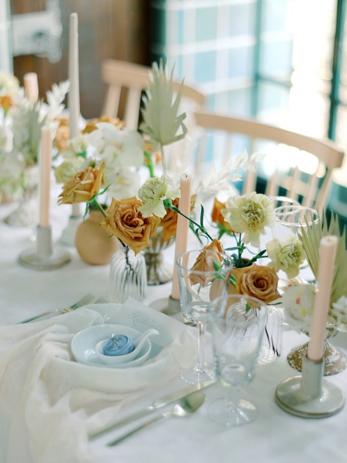Table Setting Featuring Green and Gold Summer Wedding Color Palette