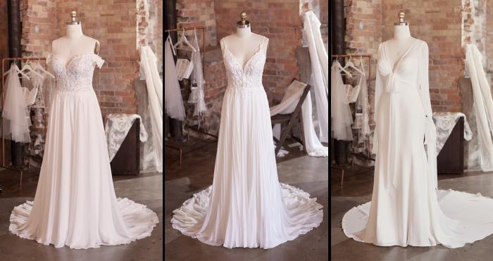 Collage of Three Chiffon Wedding Dresses on Mannequins