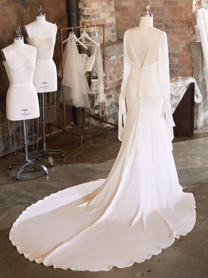 Vintage Chiffon Wedding Dress on Mannequin
