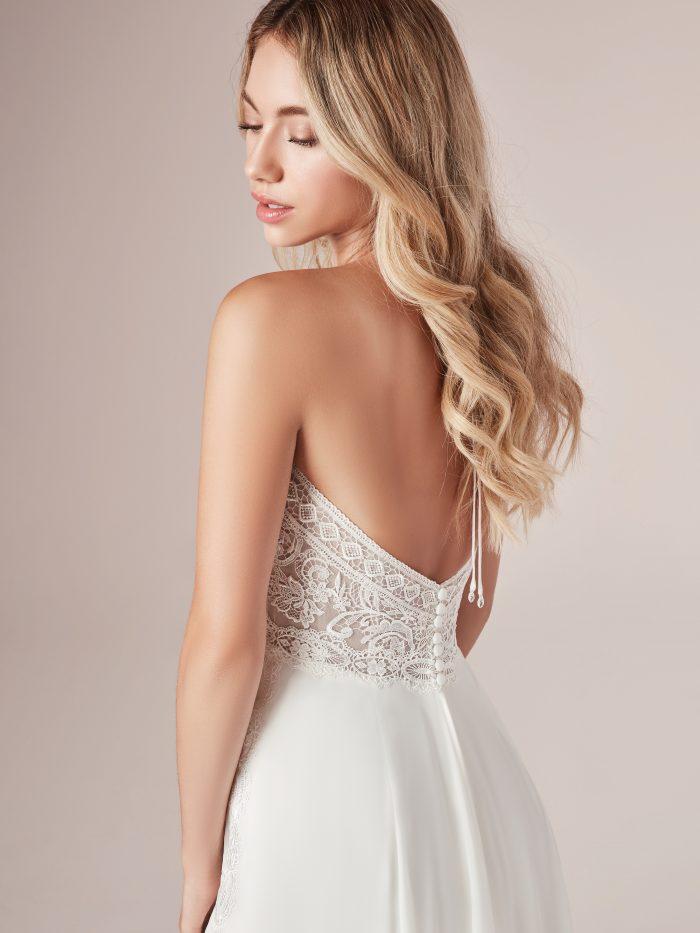Bride Wearing Beach Chiffon Wedding Dress Called Nicole by Rebecca Ingram