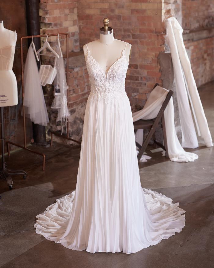 Pleated Chiffon Wedding Dress on Mannequin