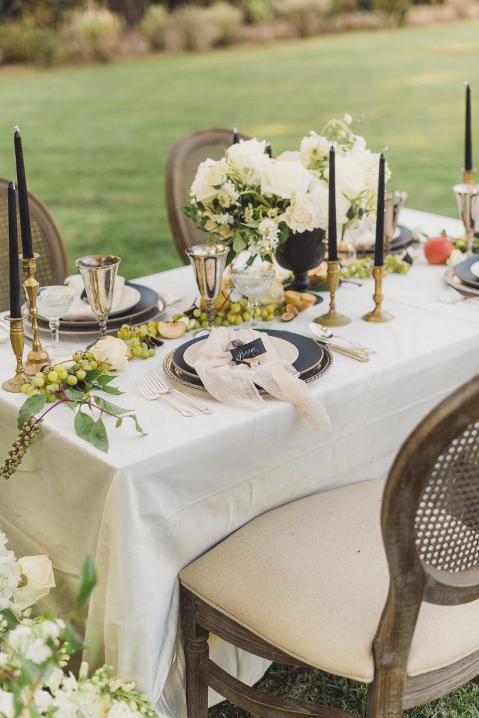 Elegant Outdoor Wedding Idea of Black and Ivory Table Setting
