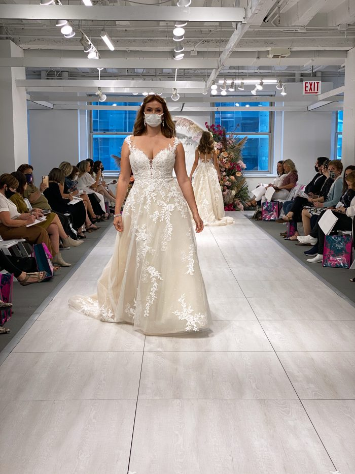 Model Wearing Favorite Wedding Dress Called Diana by Maggie Sottero at the Chicago Bridal Market