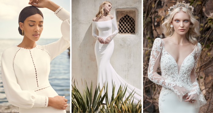 Three Brides Wearing Long Sleeve Crepe Wedding Dresses
