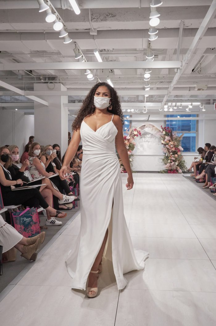 Model Wearing Runway Wedding Dress with Thigh-High Slit Called Phaedra by Maggie Sottero