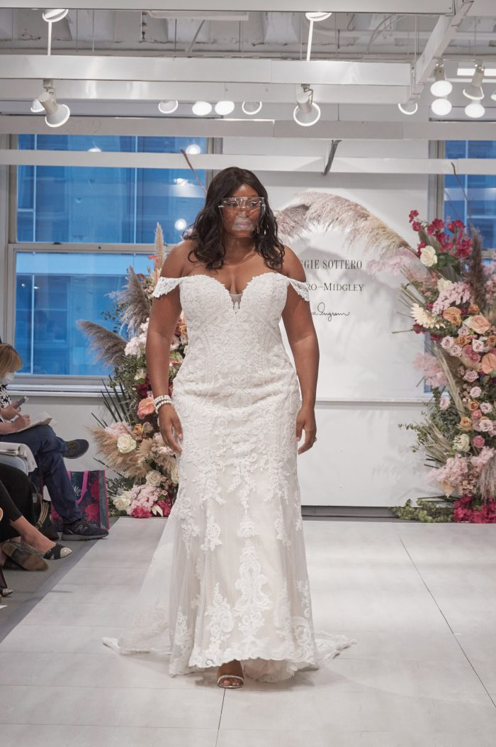 Bride Wearing Plus Size Runway Wedding Dress Called Ralston by Maggie Sottero at the Chicago Bridal Market