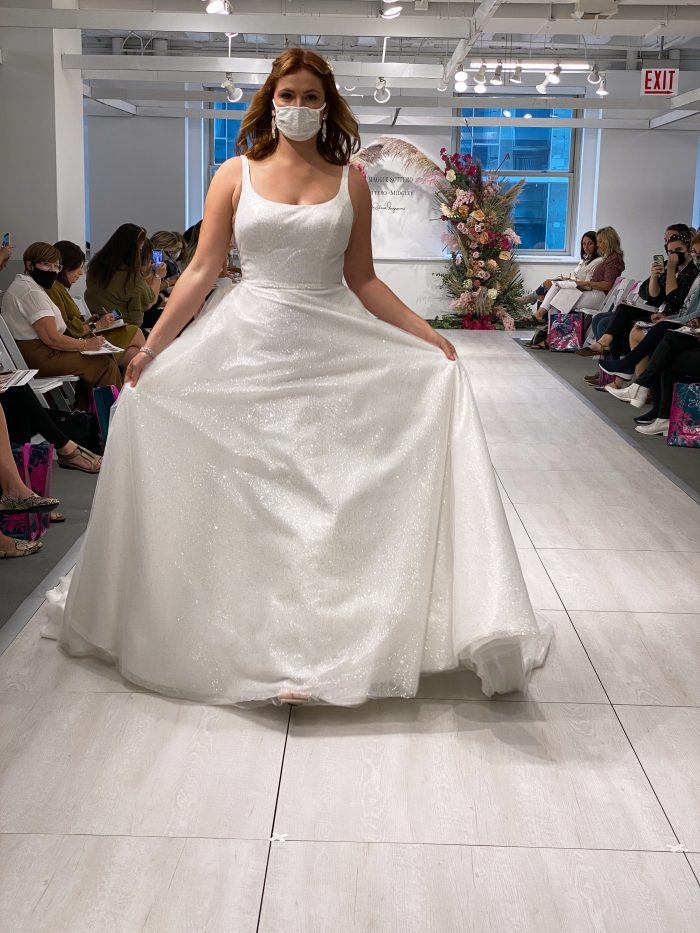 Bride Wearing Square Neck A-line Runway Wedding Dress Called Symphony by Maggie Sottero