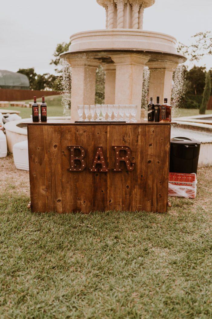 Outdoor Wedding Bar at Backyard Wedding