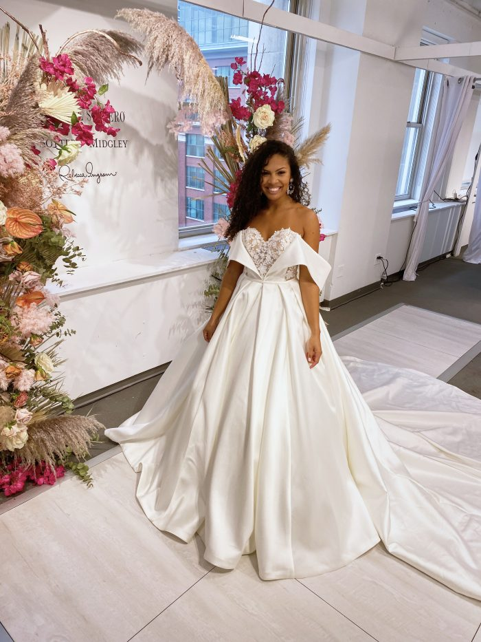 Model at Chicago Bridal Market Wearing Ball Gown Runway Wedding Dress Called Zulima by Sottero and Midgley