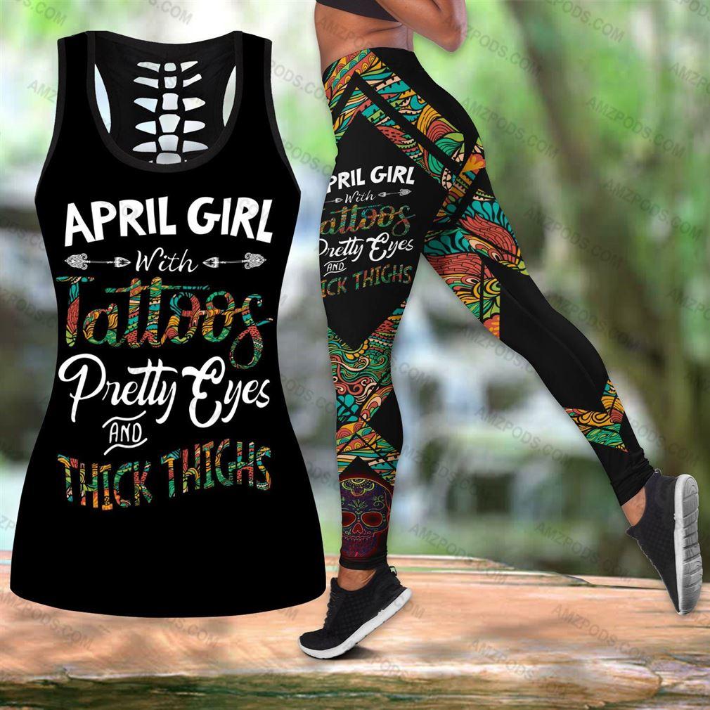 April Birthday Girl Combo Outfit Hollow Tanktop Legging Set V03