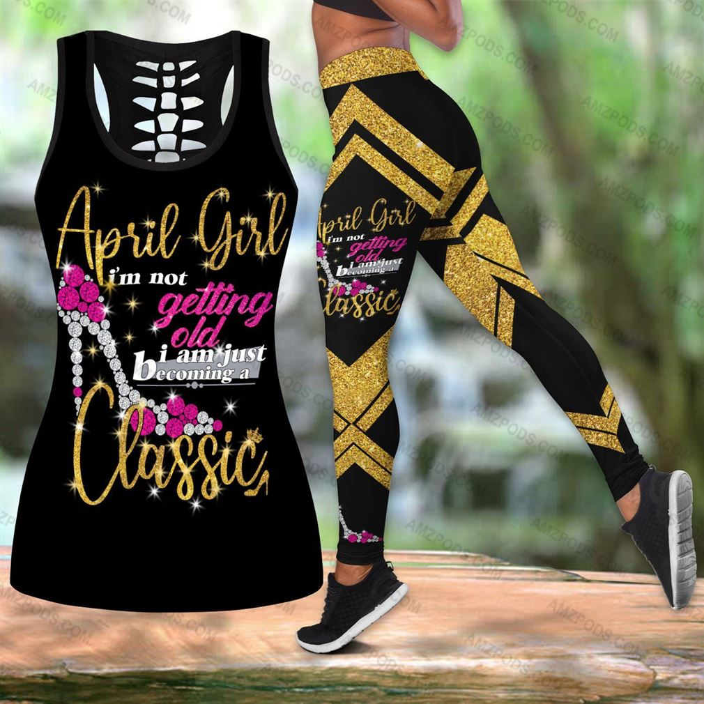 April Birthday Girl Combo Outfit Hollow Tanktop Legging Set V06