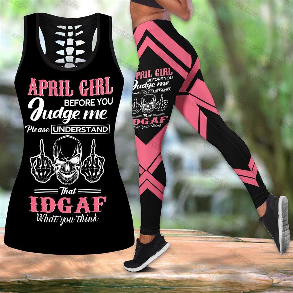 April Birthday Girl Combo Outfit Hollow Tanktop Legging Set V09
