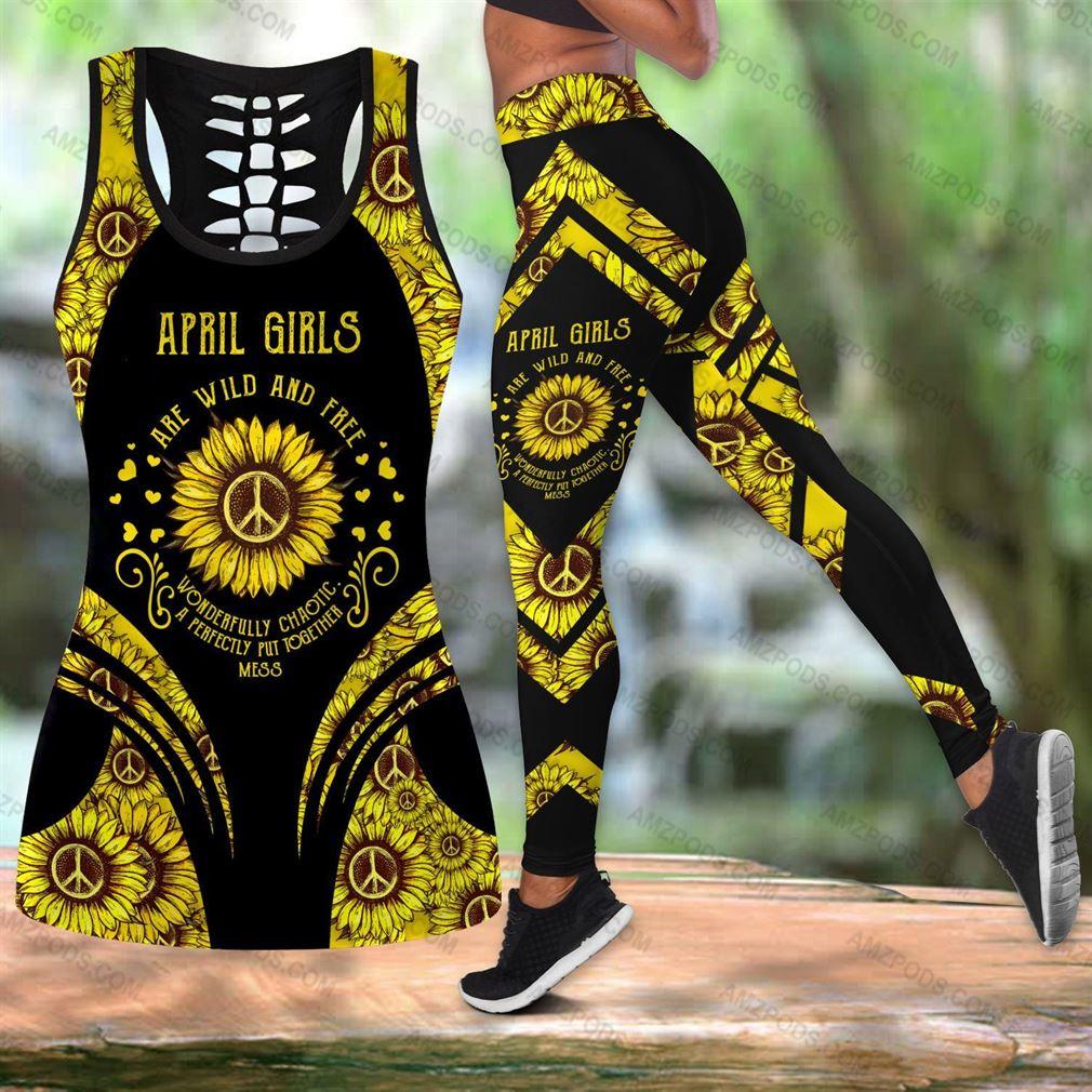 April Birthday Girl Combo Outfit Hollow Tanktop Legging Set V10