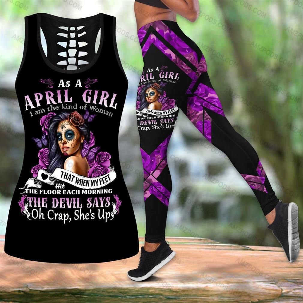April Birthday Girl Combo Outfit Hollow Tanktop Legging Set V15