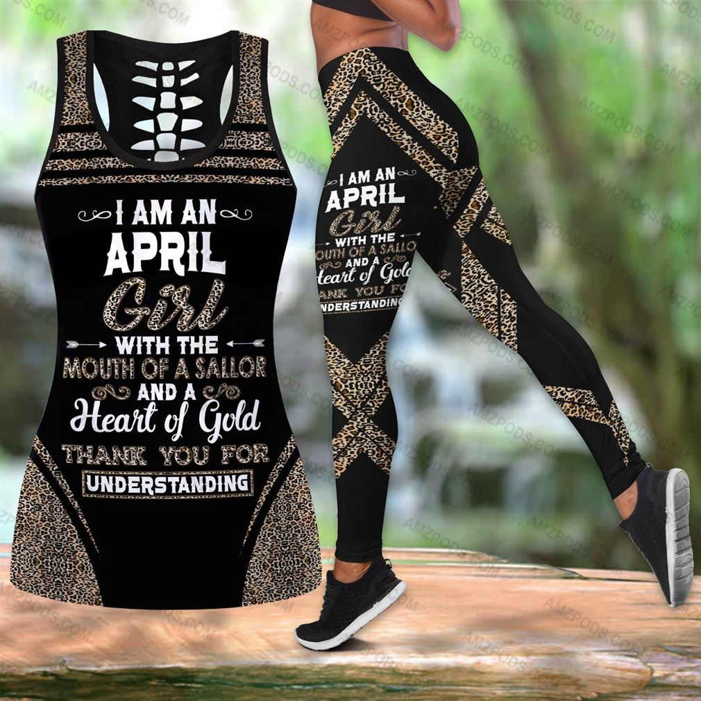 April Birthday Girl Combo Outfit Hollow Tanktop Legging Set V16