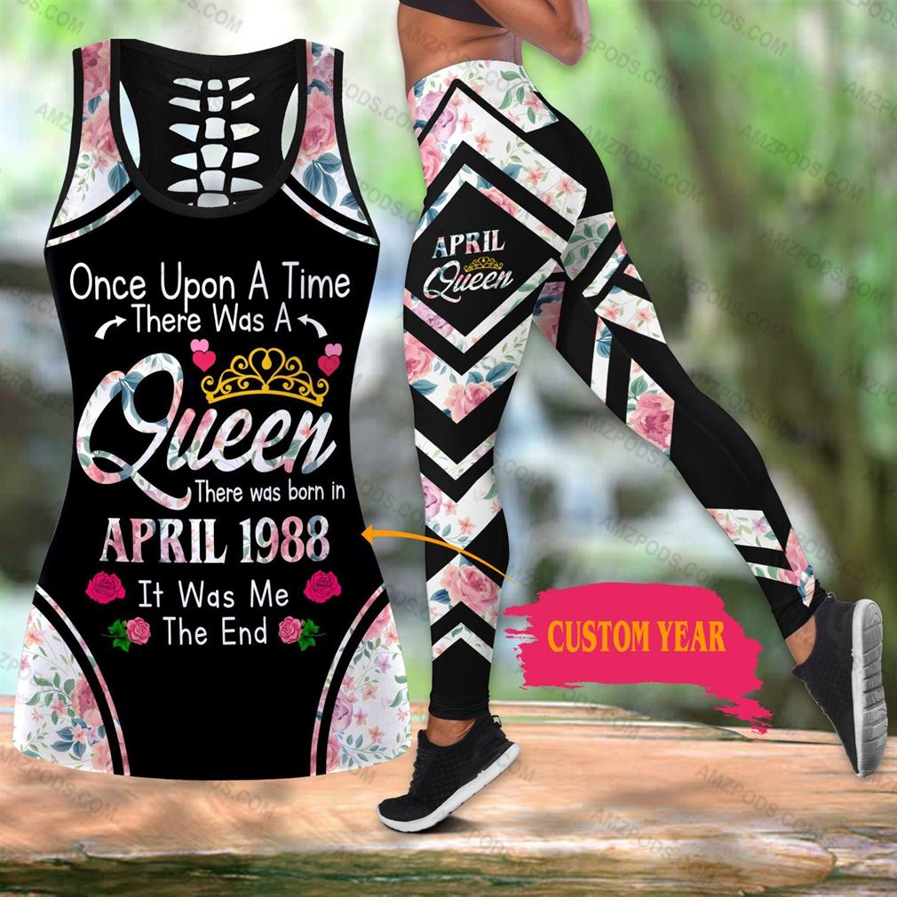 April Birthday Girl Combo Outfit Hollow Tanktop Legging Set V23