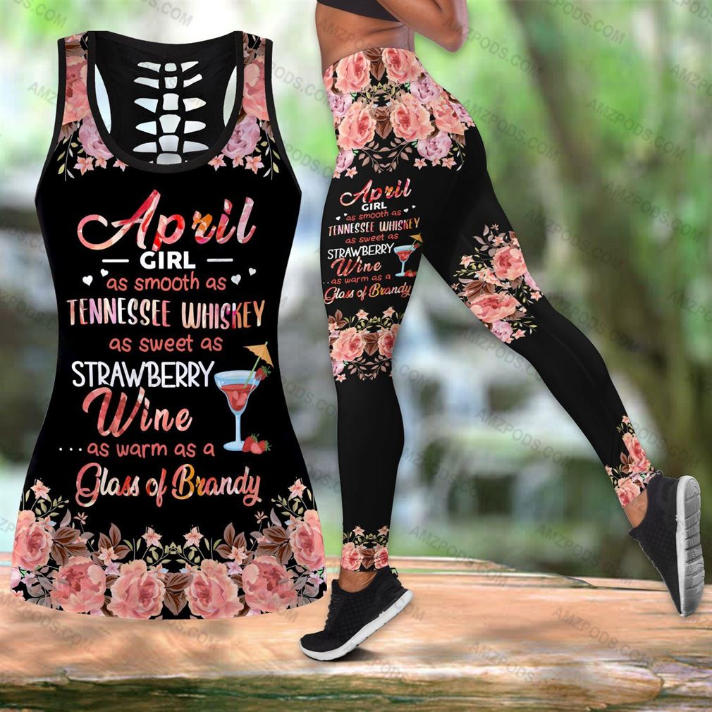 April Birthday Girl Combo Outfit Hollow Tanktop Legging Set V40