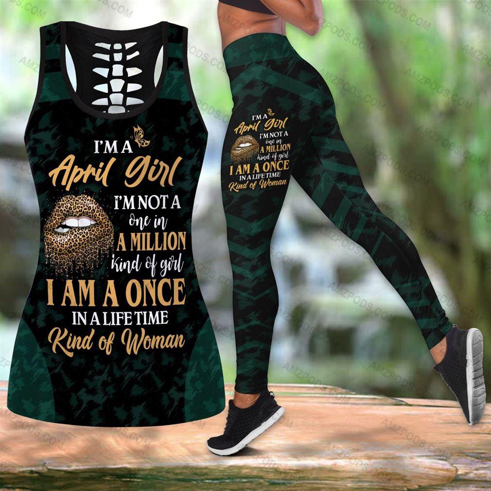 April Birthday Girl Combo Outfit Hollow Tanktop Legging Set V50