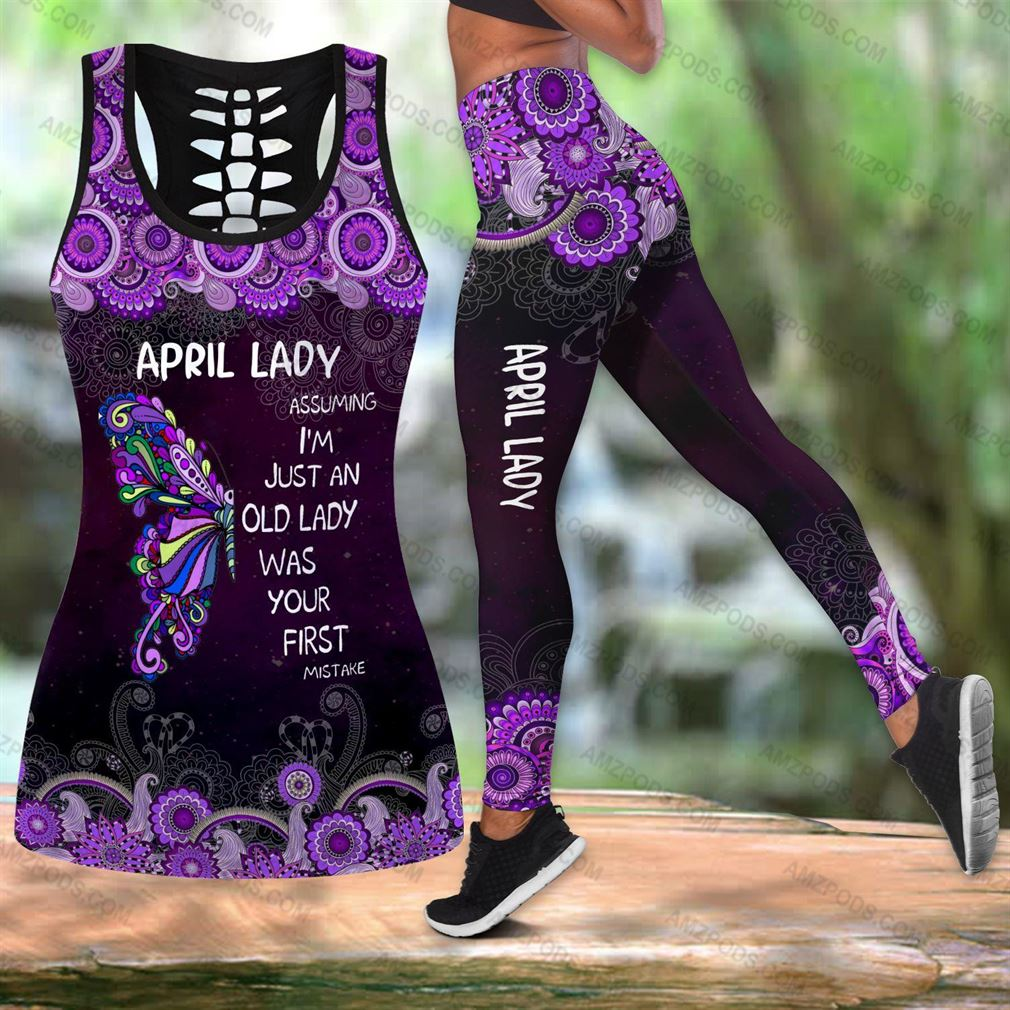 April Birthday Girl Combo Outfit Hollow Tanktop Legging Set V53