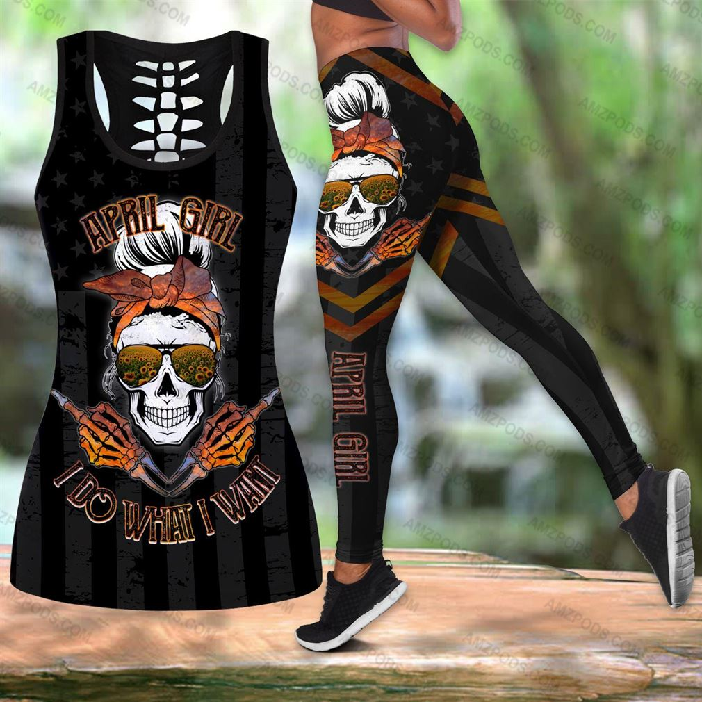April Birthday Girl Combo Outfit Hollow Tanktop Legging Set V55