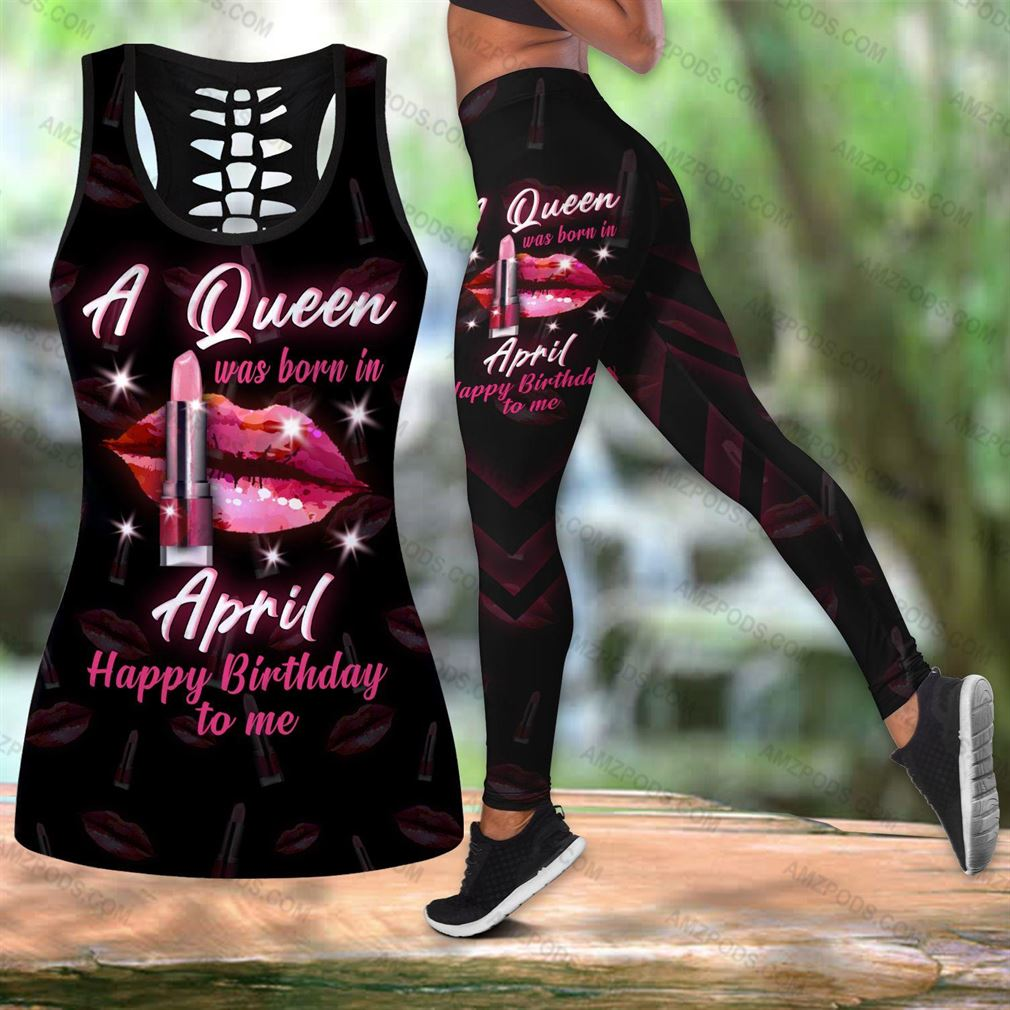 April Birthday Girl Combo Outfit Hollow Tanktop Legging Set V60